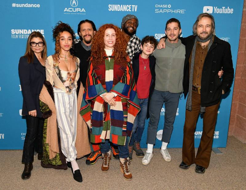 FKA twigs and Shia LaBeouf alongside the rest of the cast of 'Honey Boy' at 2019's Sundance Film Festival. The two met while making the movie in 2018.