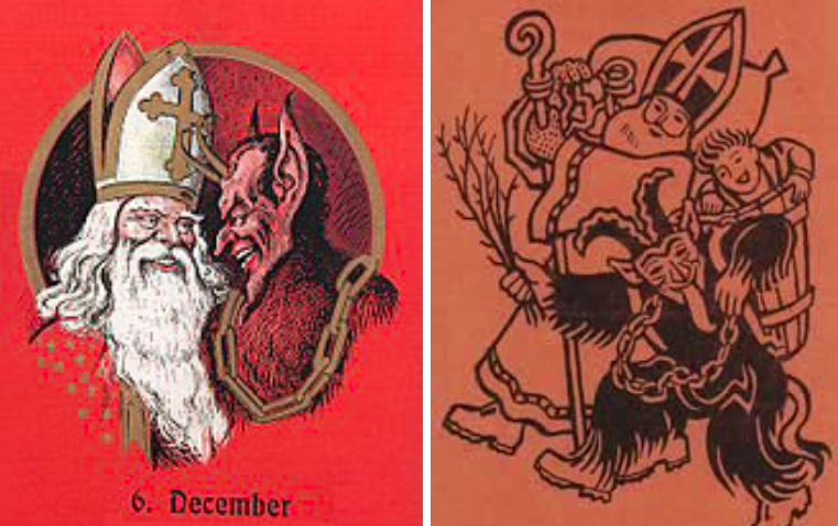 Two depictions of Saint Nicholas working alongside Krampus in chains.