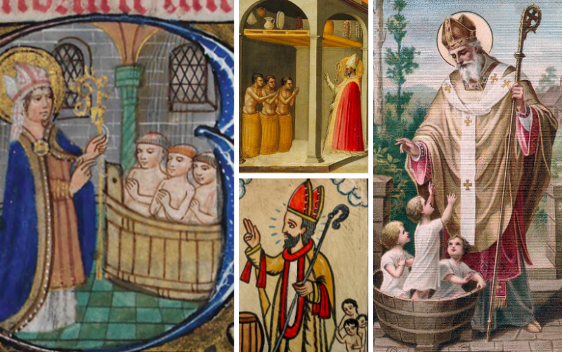 Four classic depictions of St. Nicholas saving three boys from being pickled in a barrel.