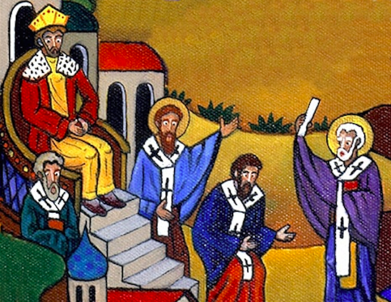 St. Nick slapping down the priest Arius for talking smack about Jesus, in art by Alexander Boguslawski.
