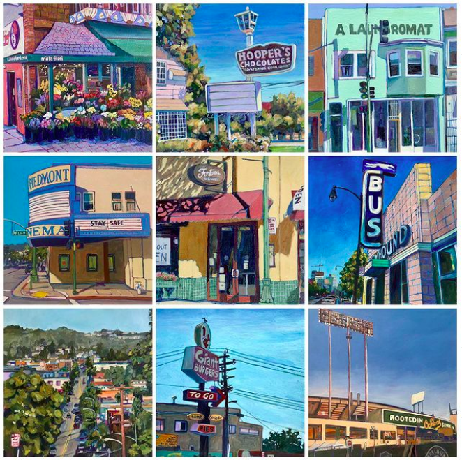 A selection of work from Meredith Steele's 100 paintings of Oakland.