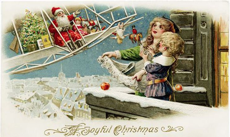 A Victorian depiction of Santa in a biplane, throwing gifts towards children standing at an open window.
