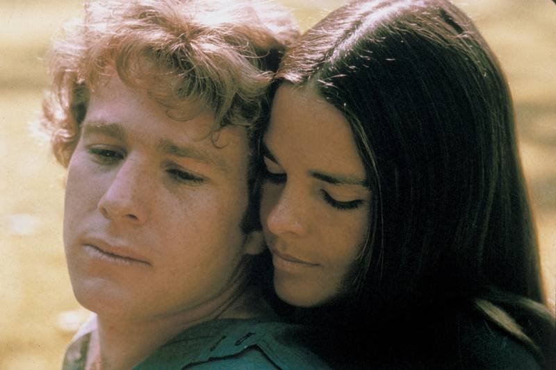 Ryan O'Neal and Ali MacGraw starring in the 'unabashedly sentimental' 'Love Story' in 1970.