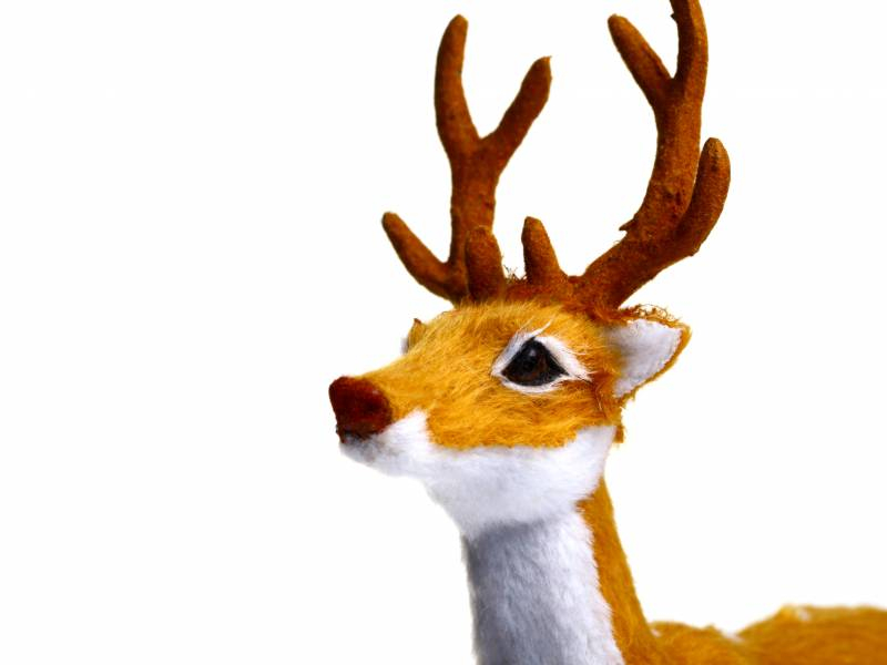 A toy reindeer is shown on a white background.