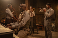 Michael Potts as Slow Drag, Glynn Turman as Toldeo, Colman Domingo as Cutler, and Chadwick Boseman as Levee.