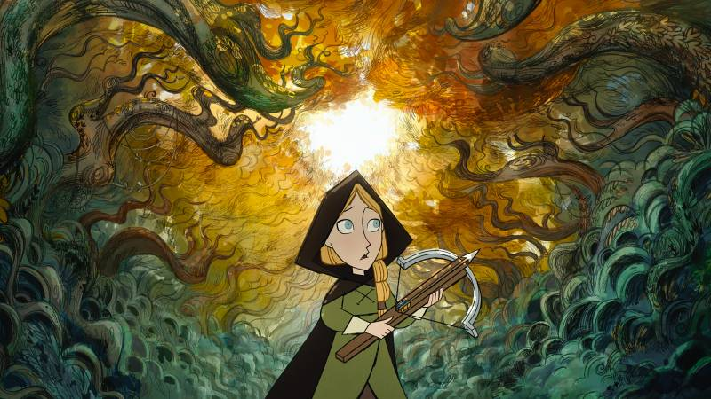 Robyn (voiced by Honor Kneafsey) heads into the woods in the animated film 'Wolfwalkers.'