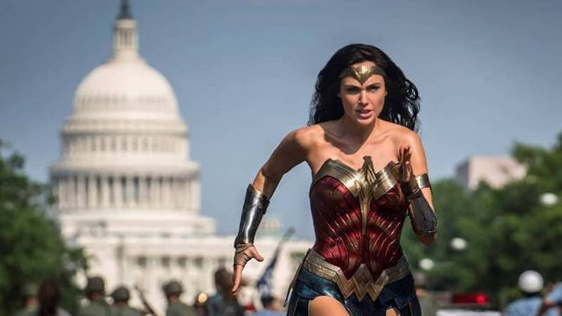 She's Running: Diana, played by Gal Gadot, chases her quarry through the streets of Washington in the sequel, 'Wonder Woman 1984.'