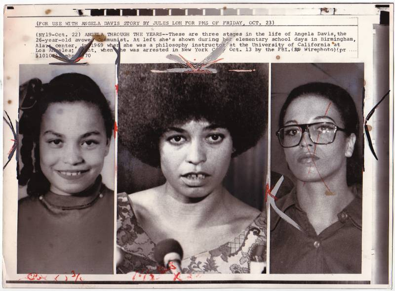 Three photos of Angela Davis: the first as a child, the second as a professor at UCLA and the third is taken at the time of her arrest