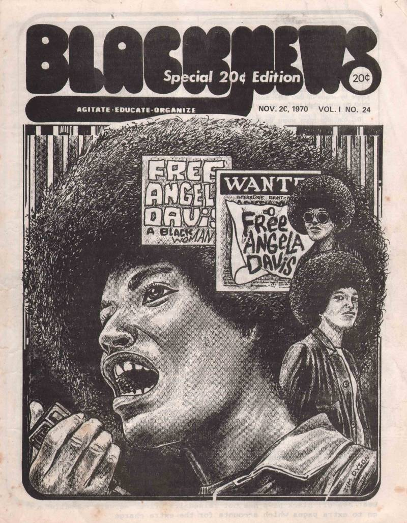 A black and white cartoon illustration of Angela Davis on the cover of Black News in 1970