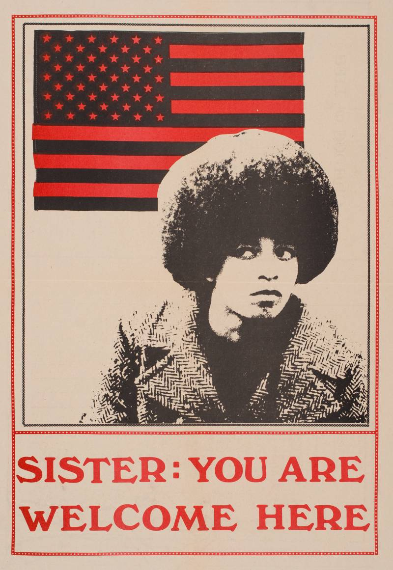 """Sister: You Are Welcome Here"" reads the caption that accompanies an image of Angela Davis on the cover of the alternative weekly newspaper, Leviathan."