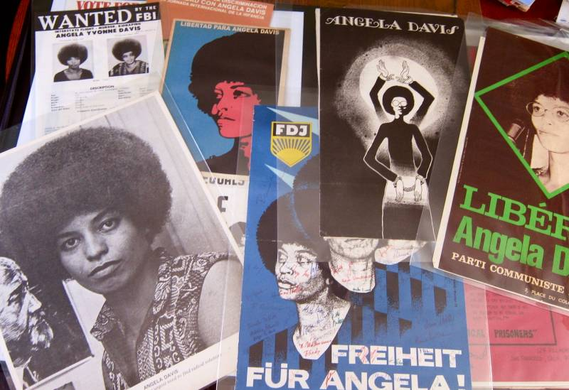 A collage of Angela Davis posters from the Lisbet Tellefsen collection