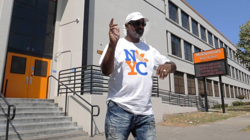 William Bilal, a.k.a. Boogaloo Bill, dances outside McClymonds High School in West Oakland