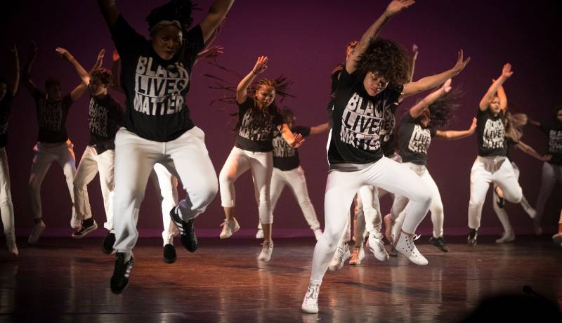 Kyziah Shavers, Amber Julian and dancers from Destiny Arts Center, which is part of this year's Night of Ideas.