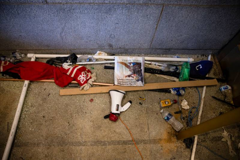 Damage and debris are seen left behind by a pro-Trump mob in the entrance to the western promenade of the U.S. Capitol building on January 7, 2021 in Washington, DC.