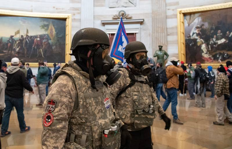 Militants inside the Rotunda of the US Capitol, Jan. 6, 2021.