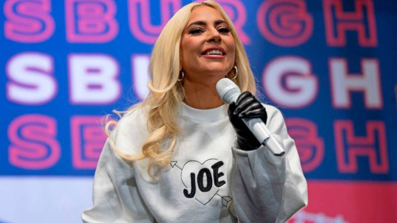 Lady Gaga performs prior to Democratic presidential candidate Joe Biden speaking during a Drive-In Rally at Heinz Field in Pittsburgh, Pennsylvania, on November 2, 2020.