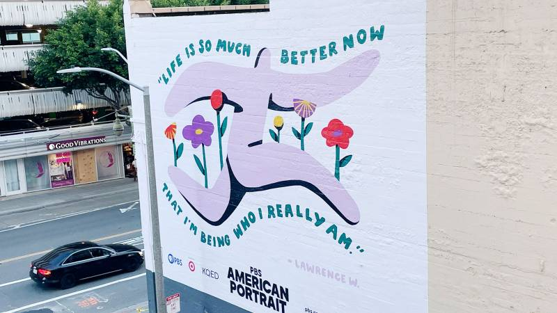 A mural designed by Oakland-based artist Jocelyn Tsaih graces a Mission Street wall in San Francisco, one of seven around the country as part of PBS' 'American Portrait' series.