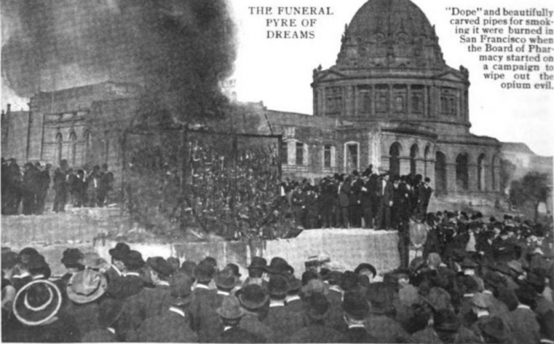The photo that 'Technical World Magazine' used in its March 1914 report on the opium bonfire shows a plume of black smoke rising up, outside San Francisco's City Hall.