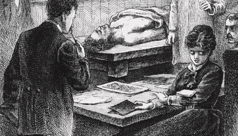 An 1847 illustration from 'Our Famous Women: An Authorized Record of the Lives and Deeds of Distinguished American Women of Our Times' (1885). The illustration shows Blackwell at Geneva Medical College in upstate New York, as she eyes a note dropped onto her arm by a male student, which she took to contain 'a gross impertinence', during a lecture.