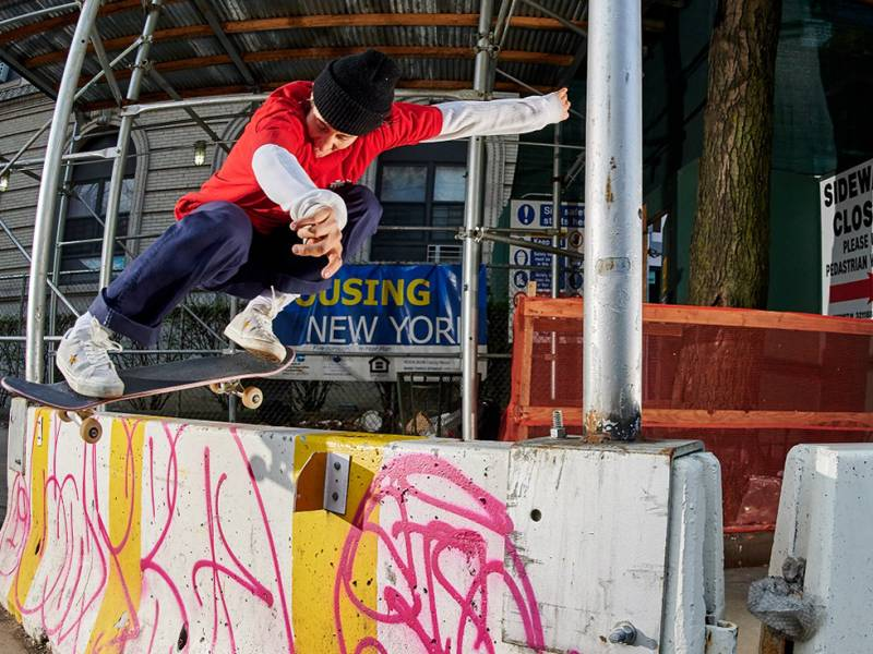 Alexis Sablone in action. The skateboarder says she's constantly looking for skate spots.