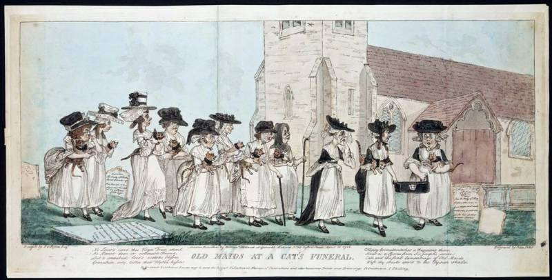 This colored stipple engraving depicts a funeral procession of elderly women with cats in their arms, following the coffin of a dead cat. The art, by J. Pettit after E.G. Byron, is dated 10 April 1789.