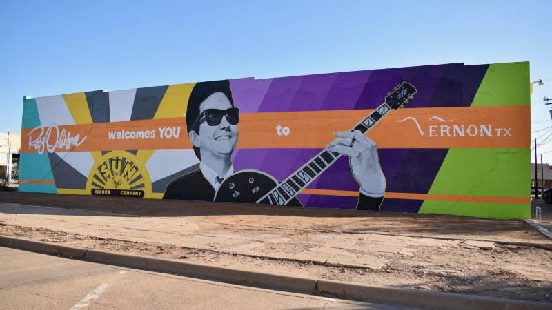 Selena Mize's new mural of Roy Orbison in Vernon, Texas.