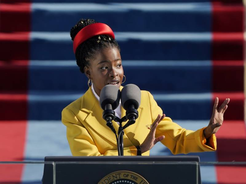 Amanda Gorman, the country's first National Youth Poet Laureate, reciting her poetry at President Biden's inauguration on Jan. 20.