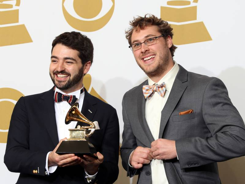 Justin Lansing and Joe Mailander of The Okee Dokee Brothers, after winning Best Children's Album for 'Can You Canoe?' at the 55th Grammy Awards, Los Angeles, Feb. 2013.