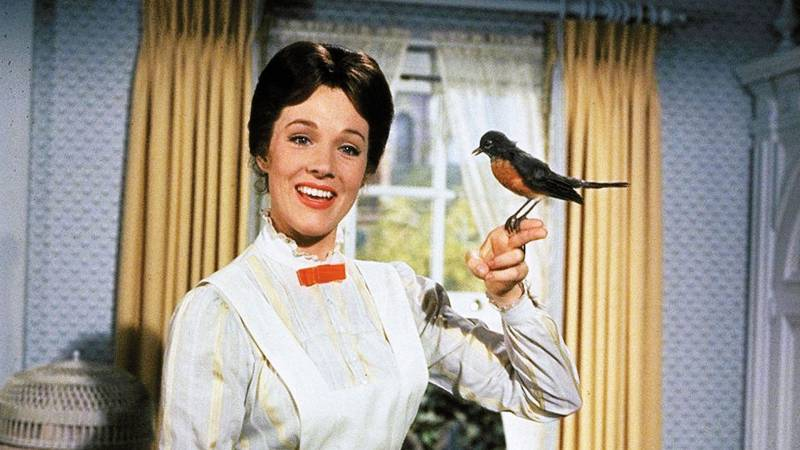 Julie Andrews performing 'A Spoonful of Sugar' in 1964's 'Mary Poppins.'