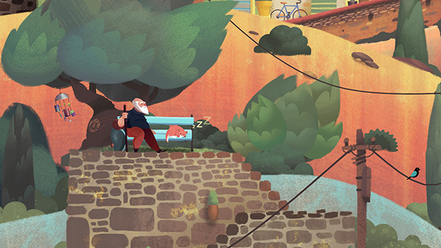 The vibrant, pastel-inspired art of 'Old Man's Journey.'