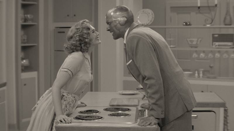 Wanda (played by Elizabeth Olsen) and Vision (played by Paul Bettany), all dressed up in 1950s attire, and starring in Disney+'s 'WandaVision.'