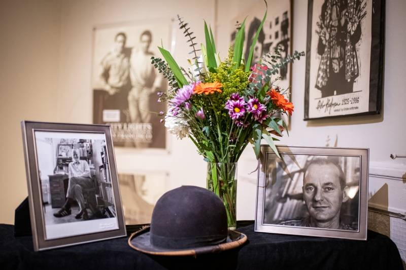 Photos of Lawrence Ferlinghetti and his bowler hat in the City Lights Poetry Room on Feb. 23, 2021.