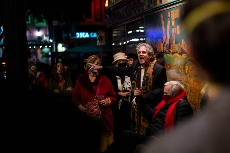 Bobby Coleman speaks during a vigil for Lawrence Ferlinghetti outside of City Lights Books on Feb. 23, 2021.