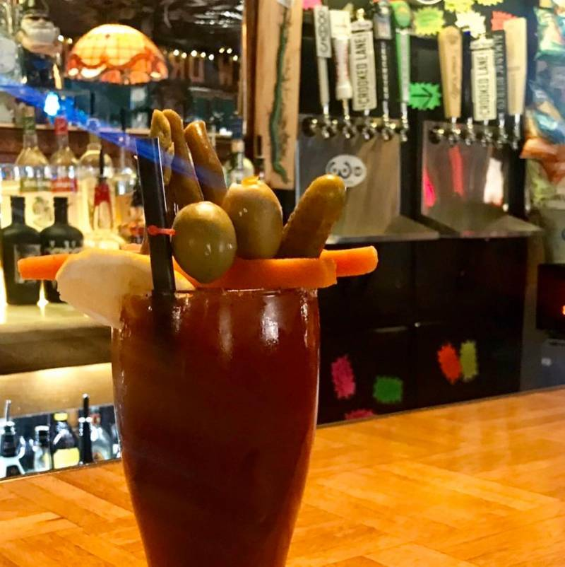 A Bloody Mary on the bar of the Dew Drop Inn. The recipe comes from the current owner's grandmother Millie, who is believed to still visit the bar as a spirit.