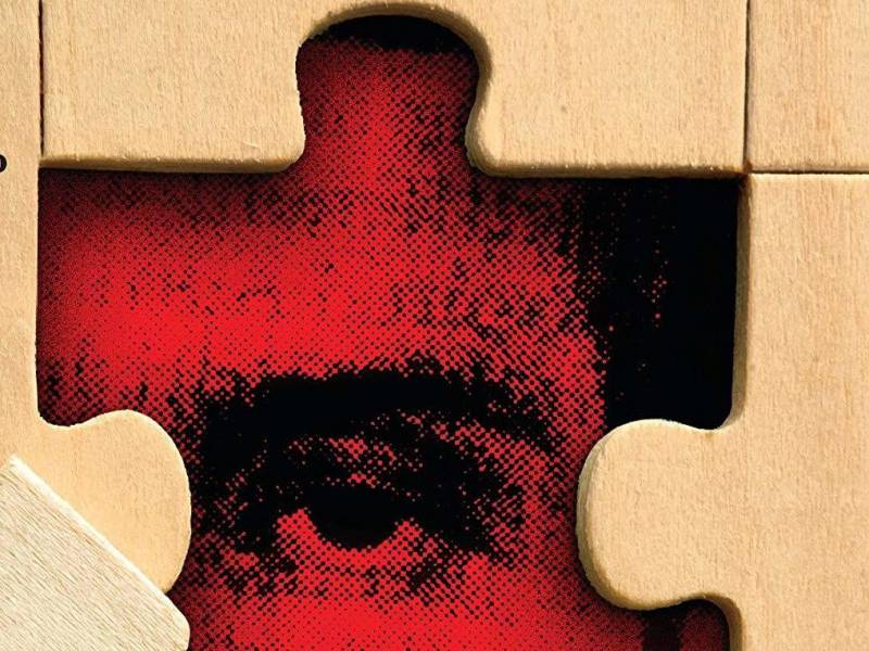 The cover of 'Two Truths and a Lie,' by Ellen McGarrahan; a man's face hidden within jigsaw puzzle pieces.