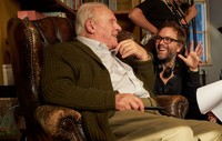 Hopkins talks with director Florian Zeller on set of 'The Father.'