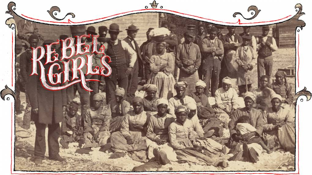 A sepia-toned photograph of a large group of Black people, standing and sitting, all looking directly into the camera.