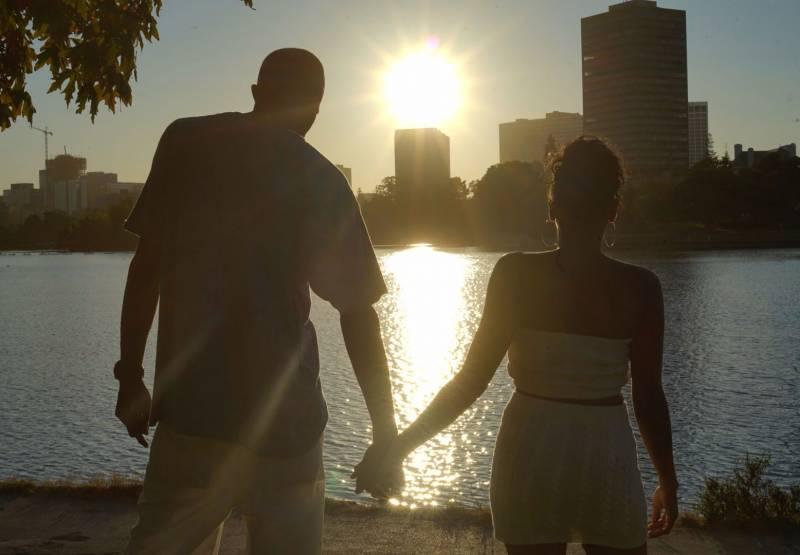 Erikka Ransom and husband Dom at Lake Merritt in Oakland.