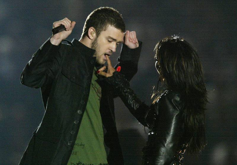 Justin Timberlake and Janet Jackson, pre-wardrobe malfunction, during the 2004 Super Bowl halftime show in Houston.