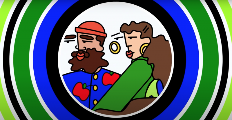 A stylized cartoon of a bearded man in a beanie and a woman with hoop earrings.
