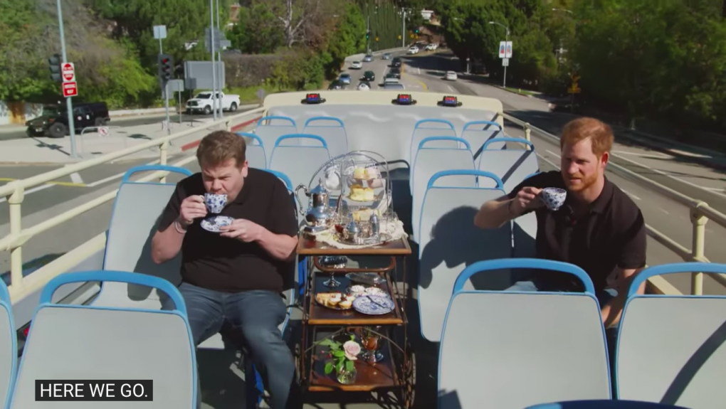 James Corden and Prince Harry enjoy afternoon tea on an open-top bus in Los Angeles.