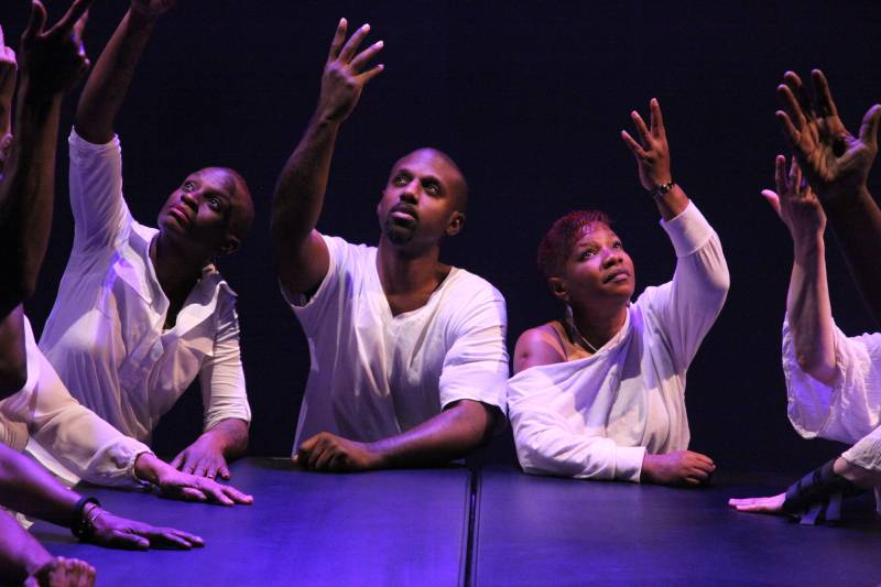 Lawanna Bracy, Joel Yates, and Shavonne Allen in Skywatchers' 'Came Here to Live' at CounterPulse (2019).