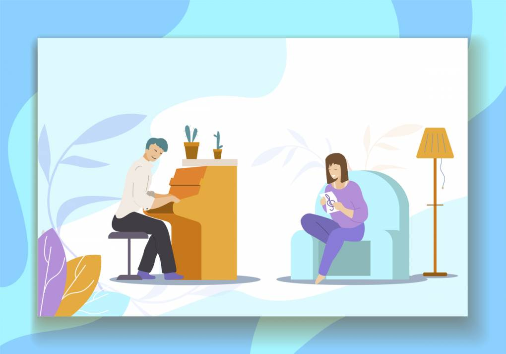 An illustration of a man playing piano for a woman in a living room.
