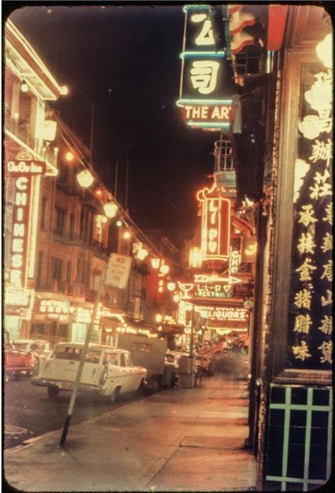 Nighttime in Chinatown, circa 1955.