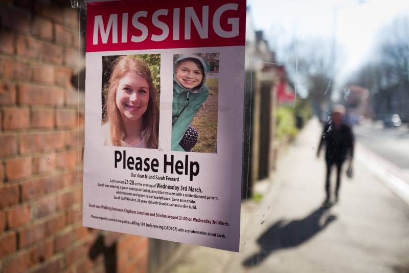 Posters requesting information are seen near Clapham Common in London, during an investigation into the disappearance of Sarah Everard who went missing March 3.