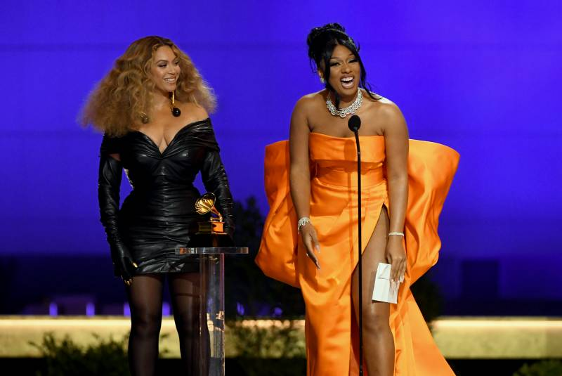 Beyoncé and Megan Thee Stallion accept the Best Rap Performance award for 'Savage' onstage during the 63rd Annual GRAMMY Awards at Los Angeles Convention Center.