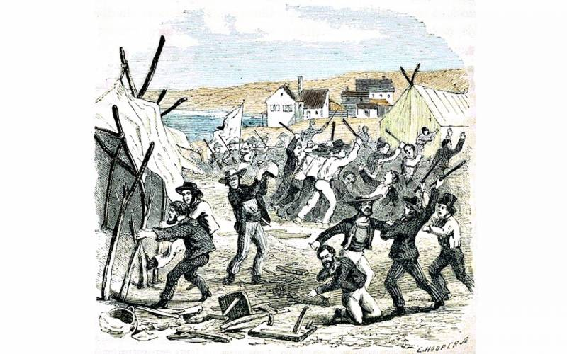 An artist's rendition of the Hounds attacking a Chilean mining camp in San Francisco in 1849.