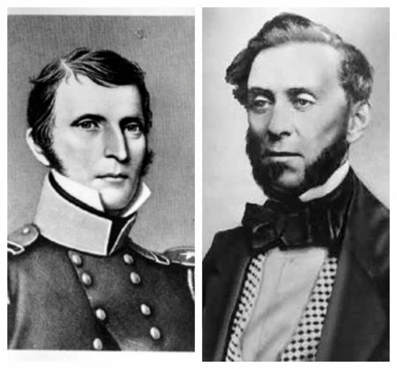 Historical portraits of (L) Thaddeus M. Leavenworth and (R) Samuel Brannan.