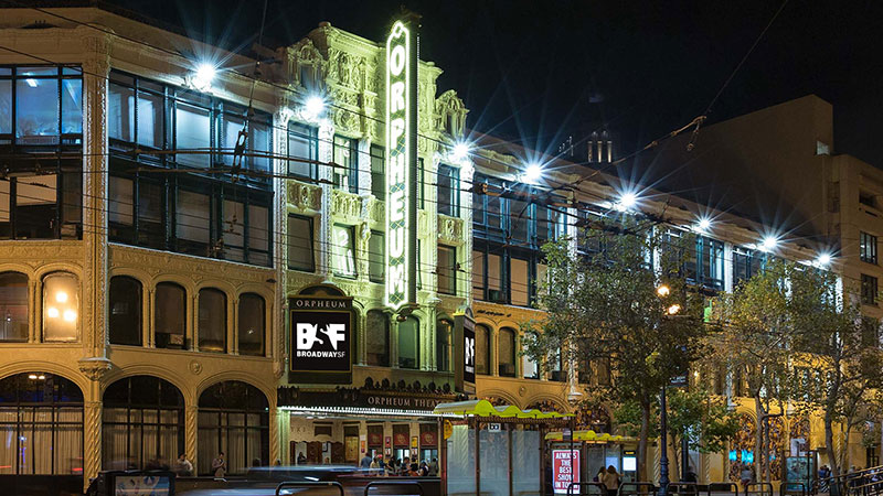 The exterior of the Orpheum Theatre in San Francisco.