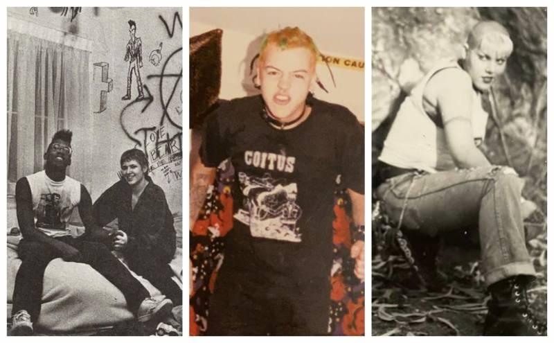 Oakland punks in the '90s. (L-R) Orlando and Tanya (photo by Patti Tuori); Mike Matusio, Elizabeth D.